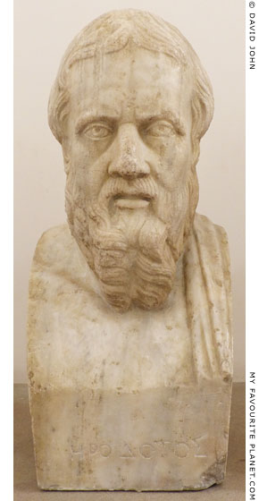 Marble bust of Herodotus in Naples at My Favourite Planet