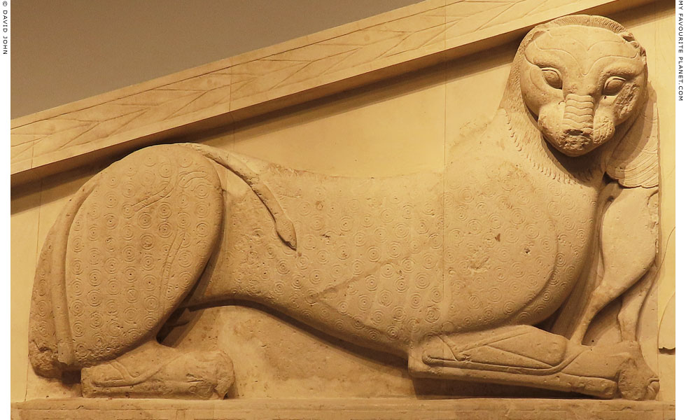The crouching lion-panther on the left of the Corfu Gorgon pediment at My Favourite Planet