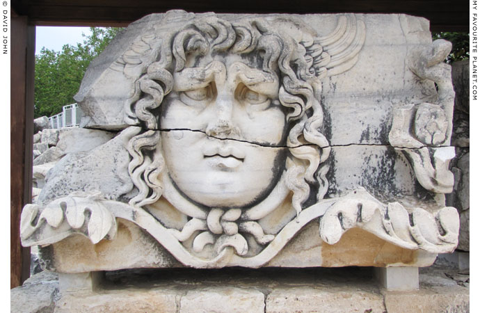 Marble relief of a colossal head of the Gorgon Medusa at the Temple of Apollo, Didyma at My Favourite Planet