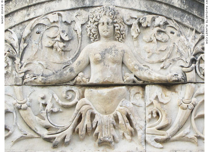 Gorgon Medusa in a plant above the doorway to the Temple of Hadrian, Ephesus at My Favourite Planet