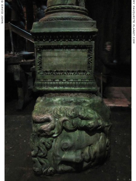 A marble head of the Gorgon Medusa in the Basilica Cistern, Istanbul at My Favourite Planet