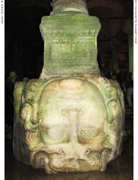 A colossal Gorgoneion relief used as a column base in the Basilica Cistern, Istanbul at My Favourite Planet
