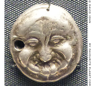 The head of the Gorgon Medusa on a silver stater from Athens, Greece at My Favourite Planet
