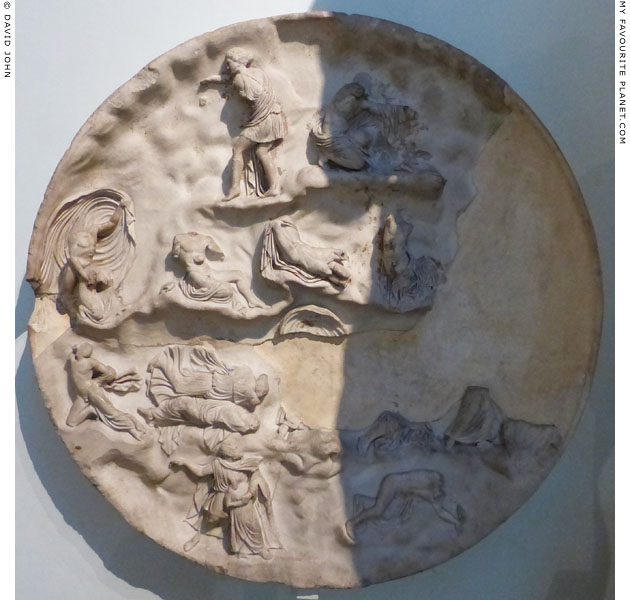 Marble relief depicting Apollo and Artemis slaying the children of Niobe at My Favourite Planet