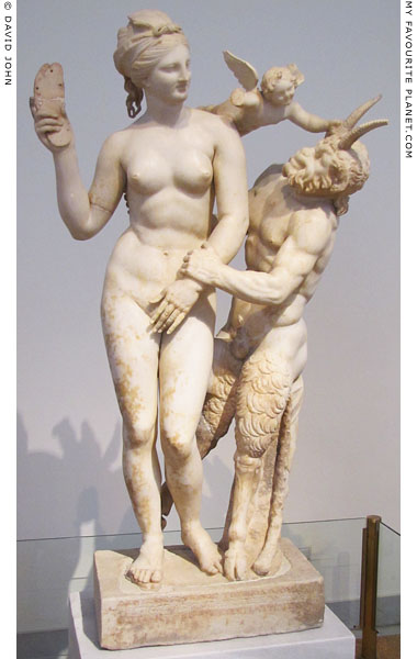 Marble statue group of Aphrodite, Eros and Pan from Delos at My Favourite Planet