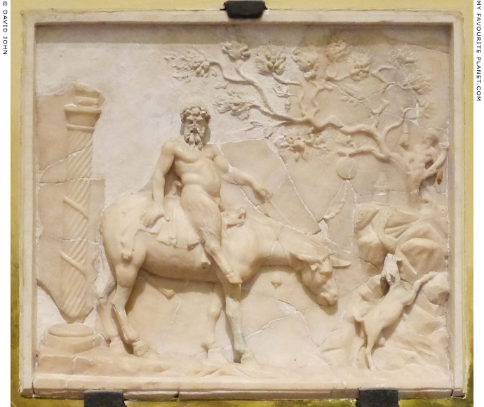 Erotic marble relief of Pan riding an ithyphallic mule at My Favourite Planet