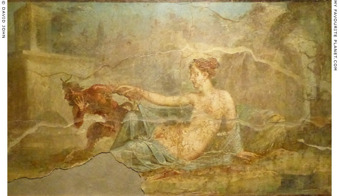 Fresco painting of Hermaphroditus and Pan from Pompeii at My Favourite Planet