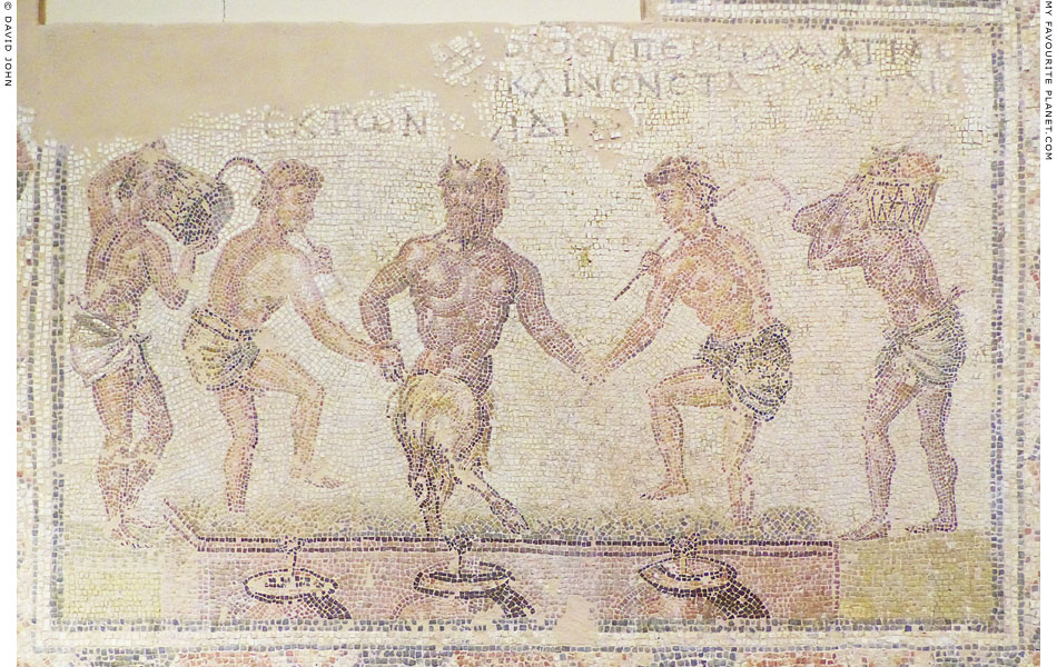 A mosaic depicting Pan treading grapes in a wine press at My Favourite Planet
