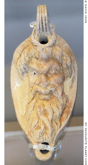 The head of Pan on a ceramic oil lamp from Elis, Greece at My Favourite Planet