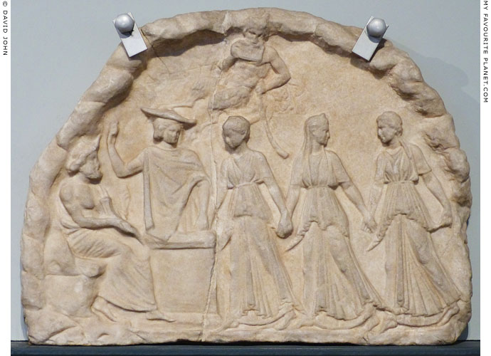Votive relief showing Hermes, Pan, Nymphs and Hades in the underworld at My Favourite Planet